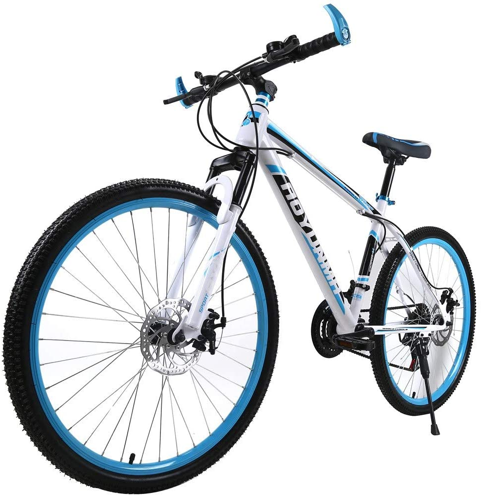 cobcob Mountain Bike, 21 Speed 26 inch Full Dual-Suspension Mountain Bike Bicycle Outdoor Cycling Lightweight Aluminum for Men/Women-Multiple Colors Dual Disc Brakes