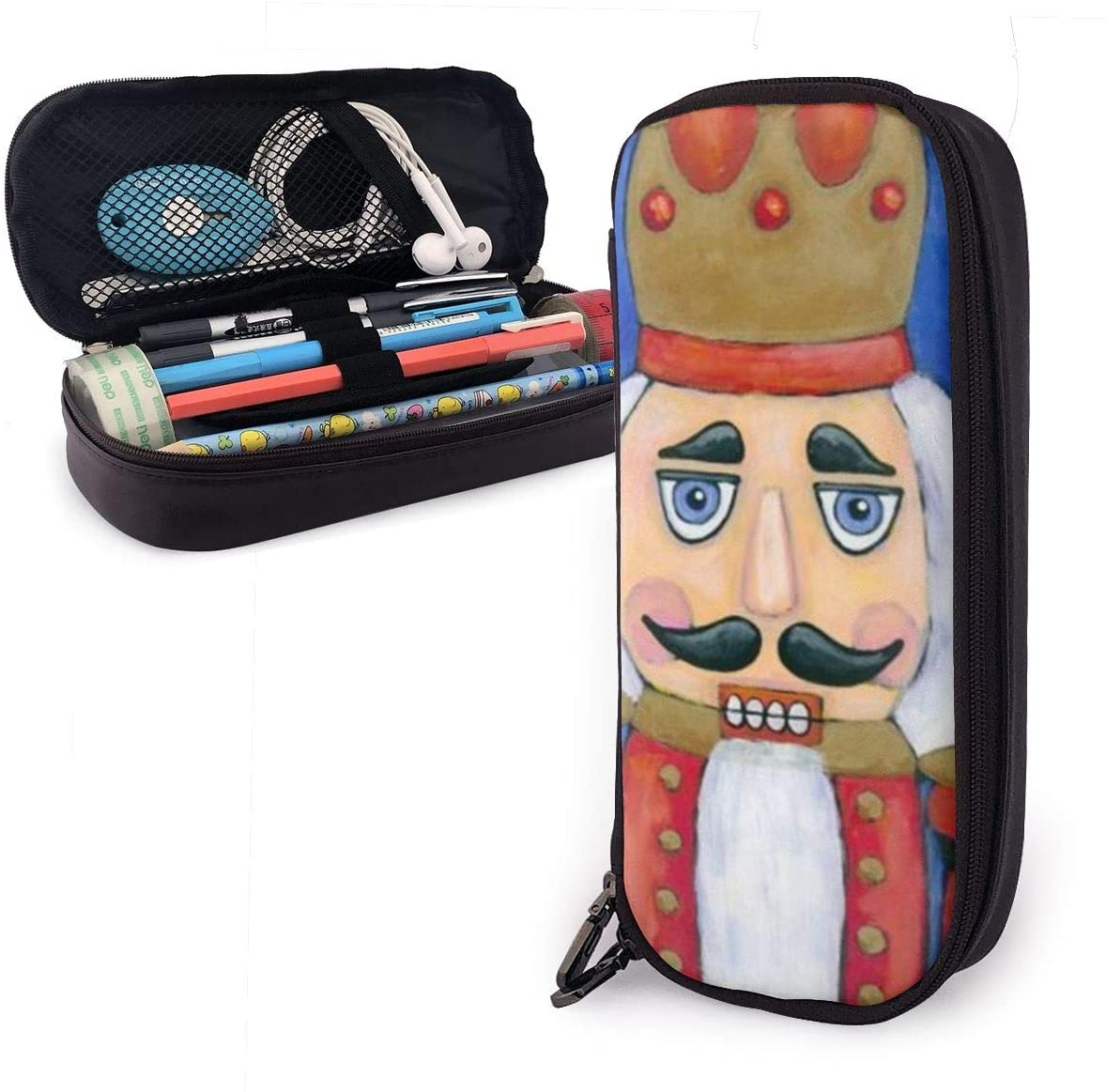 NiYoung Stylish Pen Pencil Holder Crazy Design Nutcracker Blue Professional Storage Zipper School Office Supplies Coin Organizer Makeup Bag - One Pocket Office Supplies Back to School