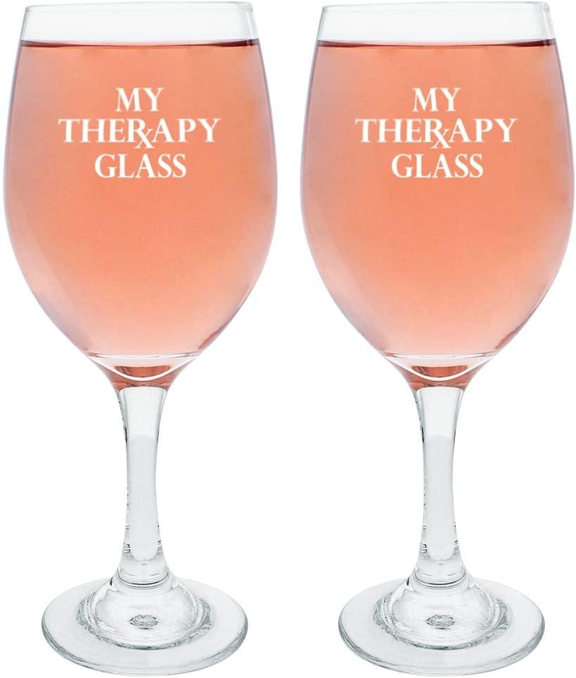 My Therapy Wine Glass Set Funny Wine Glasses for Women Prescription Wine Gift for Nurse Sister Friend Gift Wine Glasses 2-Pack Wine Glass Set White
