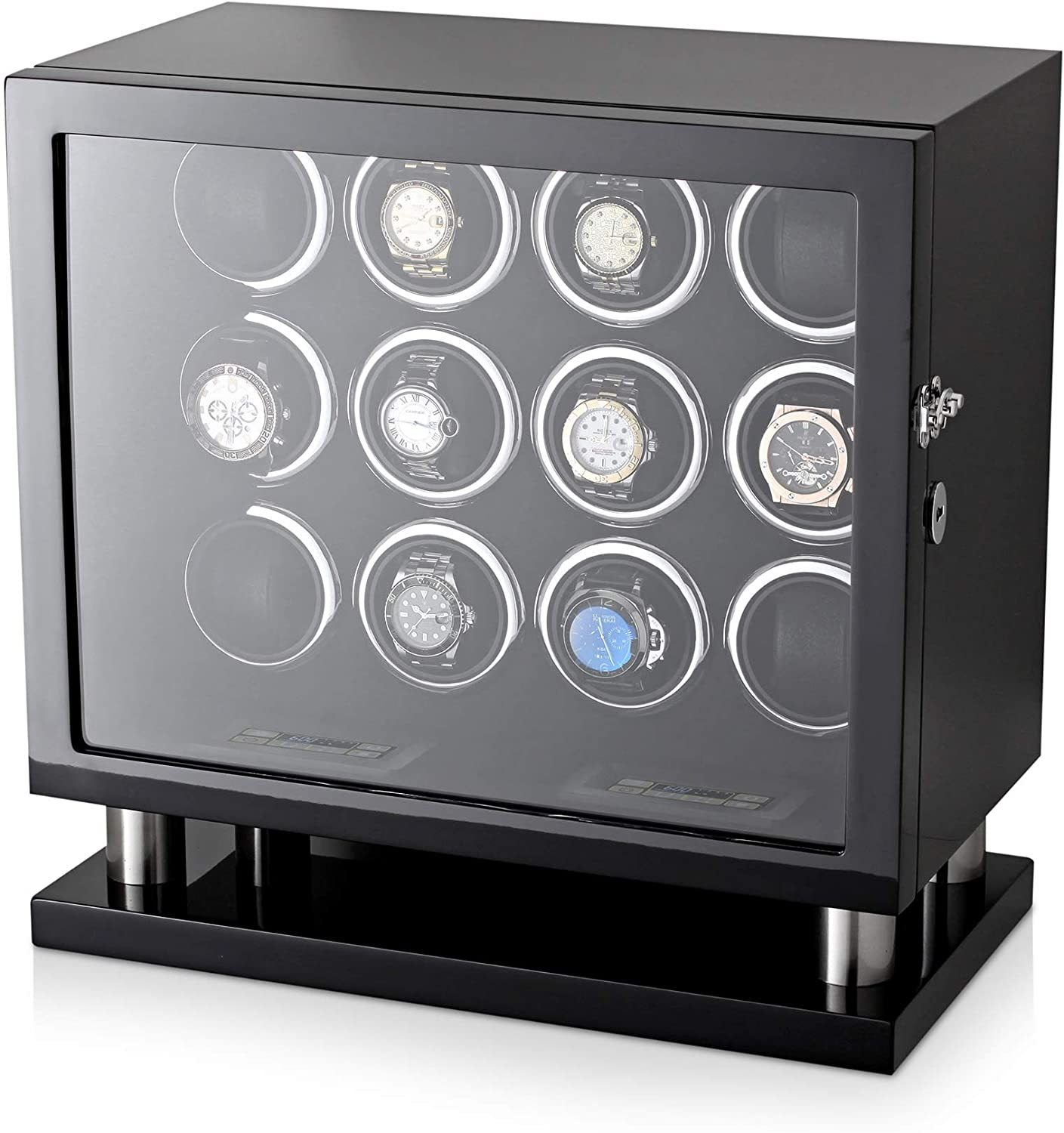 12 Watch Winder for Automatic Watches with LED Backlight and LCD Touchscreen Control