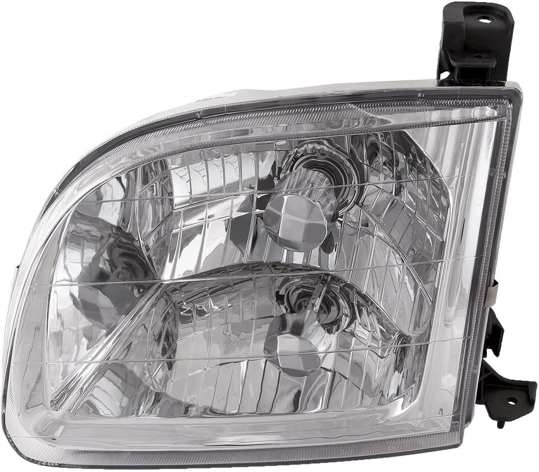 HEADLIGHTSDEPOT Chrome Housing Halogen Headlight Compatible With Toyota Tundra 2000-2004 Regular Cab/Access Cab Models Includes Left Driver Side Headlamp