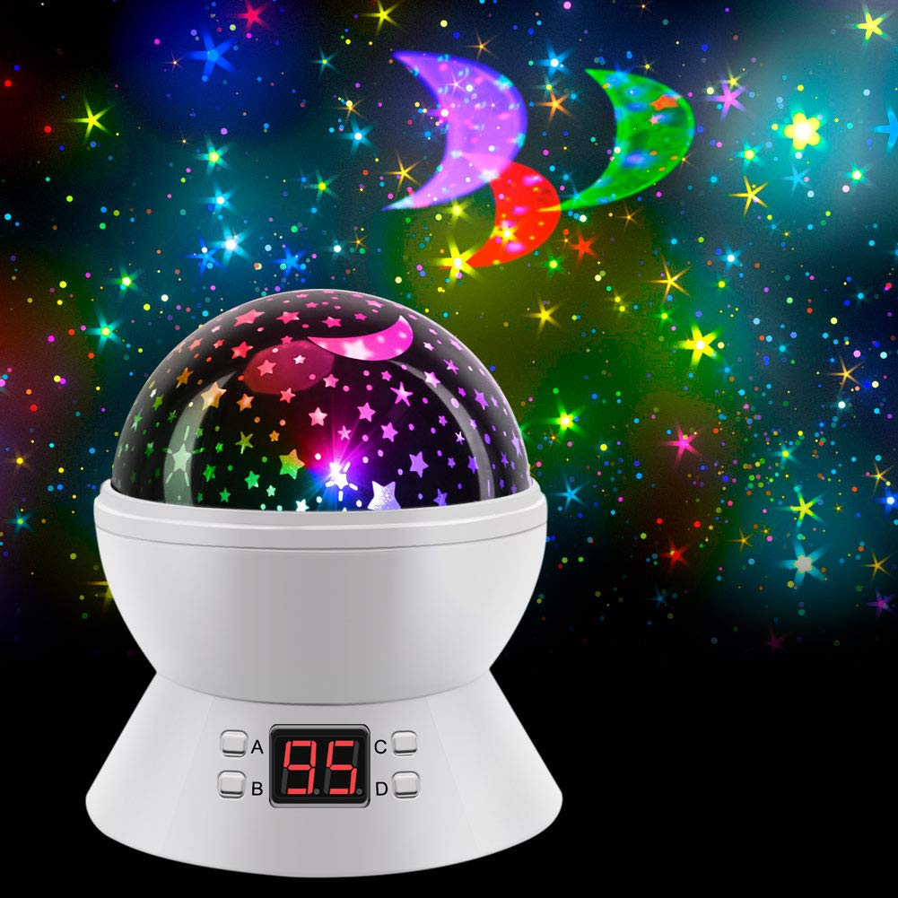 Star Projector Night Lights for Kids, Projector Nightlight with Timer, SCOPOW 360 Degree Rotation Colorful Sky Lite - Gifts for 1-14 Year Old Girl and Boy