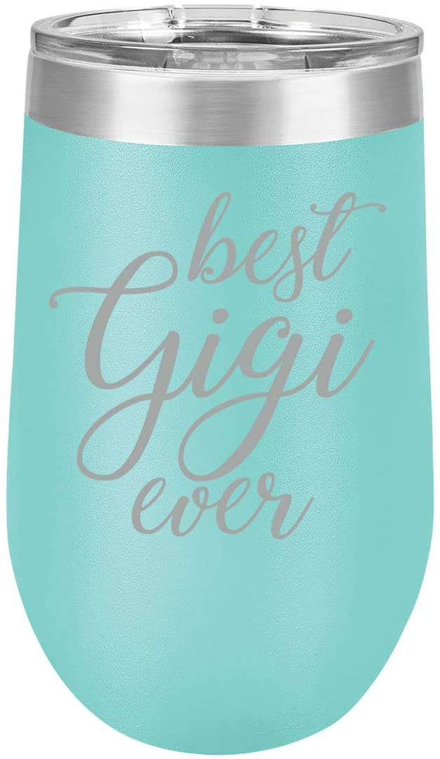 16 oz Double Wall Vacuum Insulated Stainless Steel Stemless Wine Tumbler Glass Coffee Travel Mug With Lid Best Gigi Ever Grandma Grandmother (Teal)