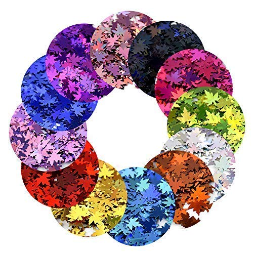 MEILINDS 3D Glitter Sequins Nail Art Tips Charms Maple leaf Design Manicure Nail Decoration 12 Colors