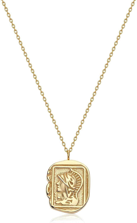 BENEIGE Pendant Necklace for Women 14K Gold Cubic Zirconia Constellation Bull Portrait Medallion Retro Necklaces