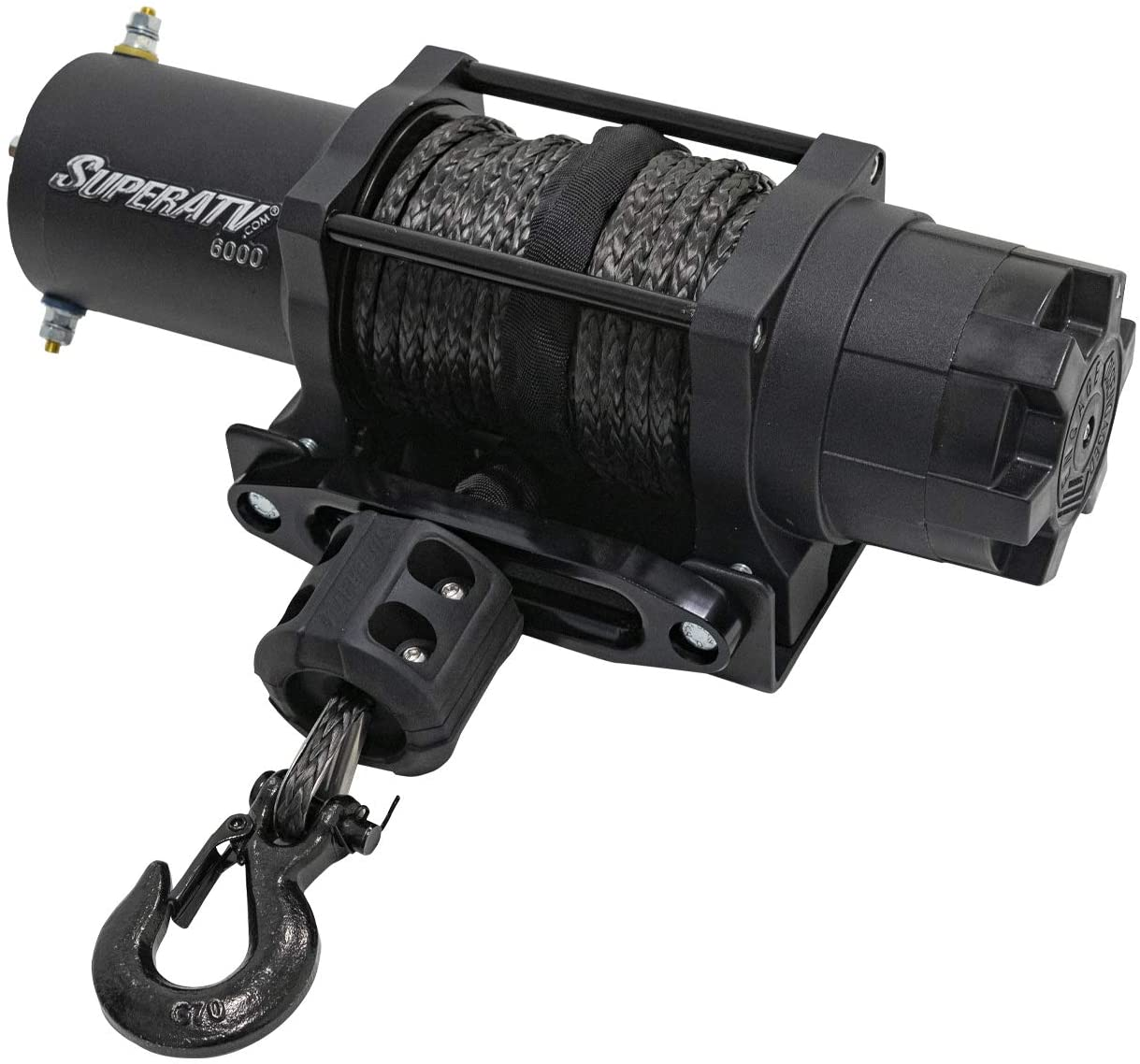 【SuperATV 6000 lb Black Ops UTV Winch Kit】 Includes 50 ft. Synthetic Rope - Wireless Remote - Aluminum Hawse Fairlead - Plus More | 6000Lbs Rated Line Pull and Automatic Shut Off