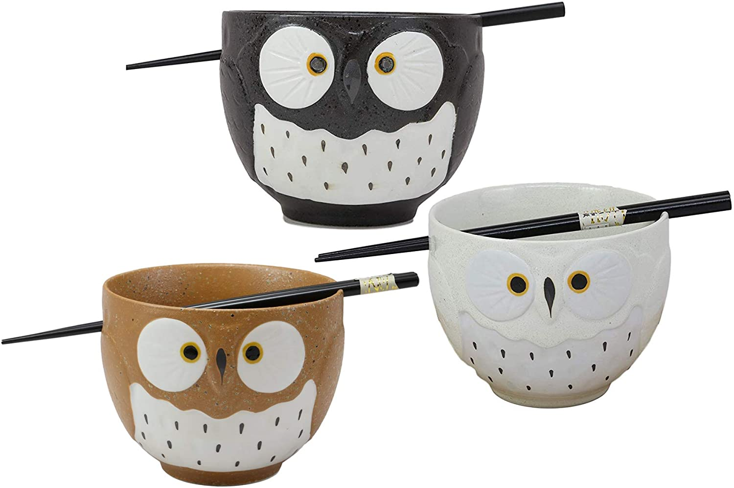 Ebros Whimsical Ceramic Brown White And Black Owl With Spotted Chest Ramen Udong Noodles Bowl and Chopsticks Set of 3 Asian Dining Salad Soup Rice Meal Cereal Owls Collection of Bowls Decor