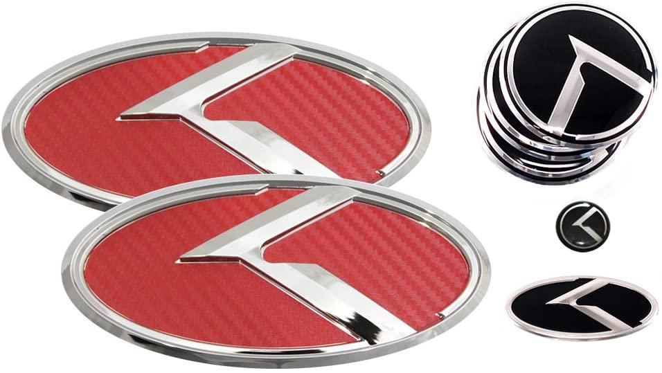 3D K Logo Emblem Red Carbon Fiber & Chrome Edition Set 8pc Front + Rear + Steering Wheel + Wheel Cap + Mini Sticker (Fit: Hyundai Genesis Coupe)