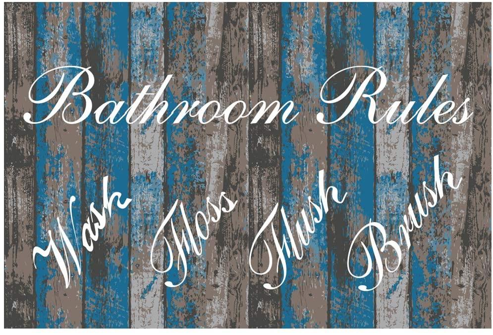 Original Retro Design Bathroom Rules Tin Metal Signs Wall Art   Thick Tinplate Print Poster Wall Decoration For Bathroom