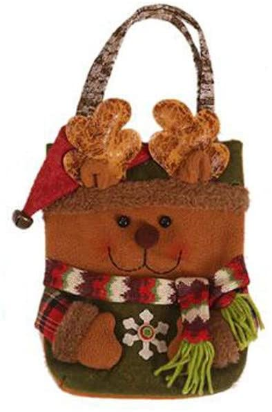wihakdh 1 Piece Christmas Candy Bag Decorations Xmas Storage Packing Classical Cute Snowman Christmas Old Man Deer Printing for Daily Use or Christmas Party