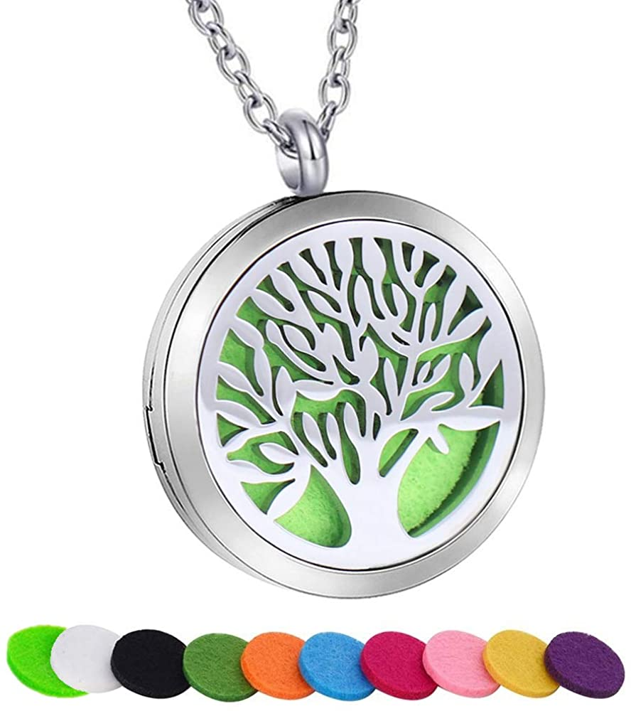 SWOPAN Essential Oil Diffuser Necklace Aromatherapy Locket Pendant Stainless Steel Necklace for Women Men Aroma Therapy Perfume Necklace Charms Pendant Hypo-Allergenic Jewelry Gift with 10 Refill Pads