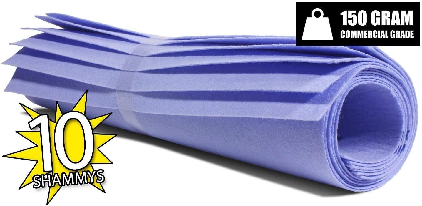 The Newest Original German Shammy - Commercial Grade 150gm Drying Chamois (10, Blue (Medium)