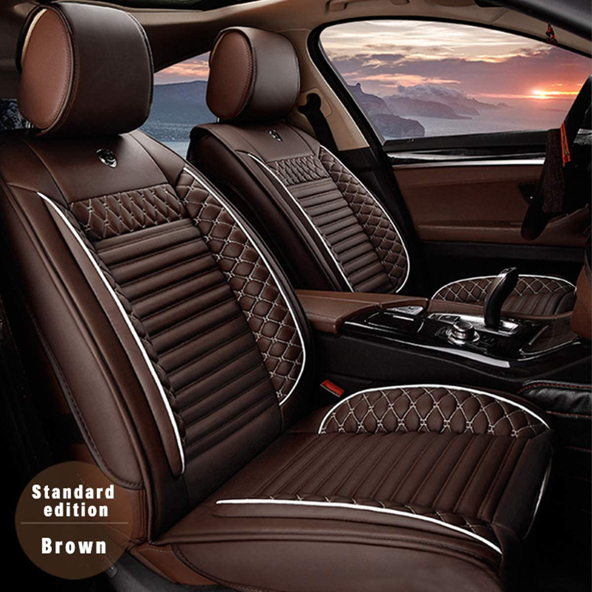 for Jeep Universal 5-Seats Car Seat Covers PU Leather Waterproof Seats Cushion All Season Fit Most Car, Truck, SUV, or Van Front Seat+Rear Seat 5Pcs Standard Edition Brown