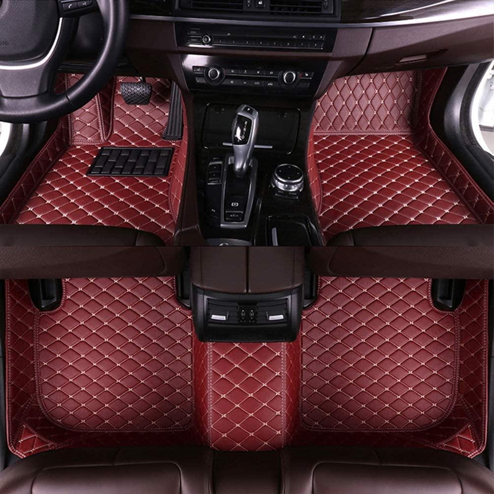 8X-SPEED Custom Car Floor Mats for Jaguar XF Four-Door Sedan 2008-2015 Full Coverage All Weather Protection Waterproof Non-Slip Leather Liner Set Wine Red