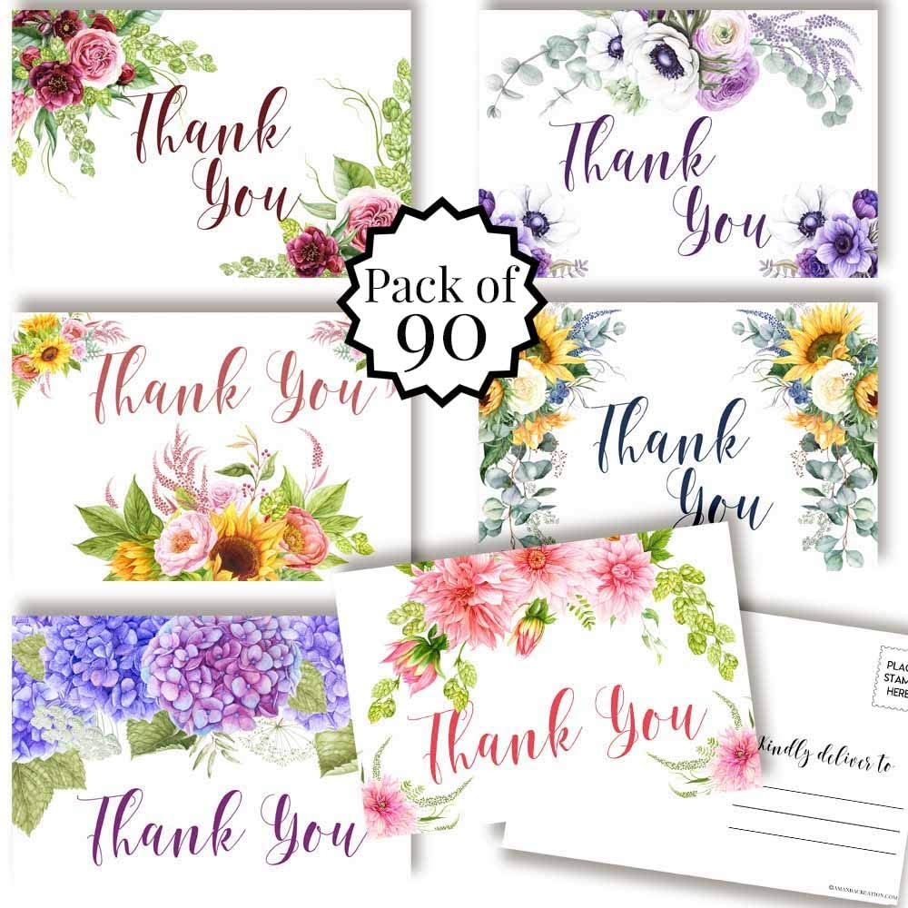 Beautiful Multicolor Floral With Greenery All Occasion Thank You Blank Postcards To Send To Friends, Family, Customers, 4