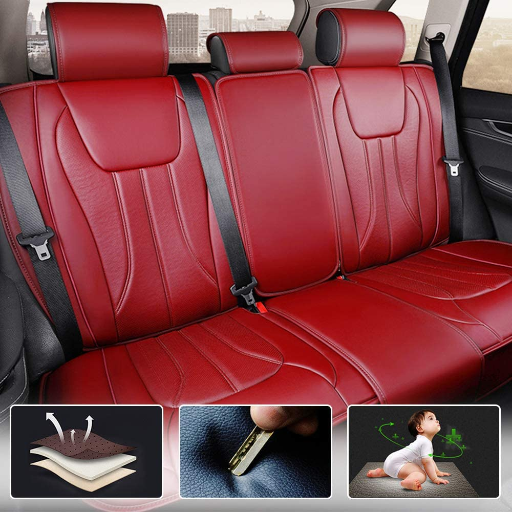 All Weather Custom Fit Seat Covers for Jeep Liberty 5-Seat Full Protection Waterproof Car Seat Covers Red Full Set