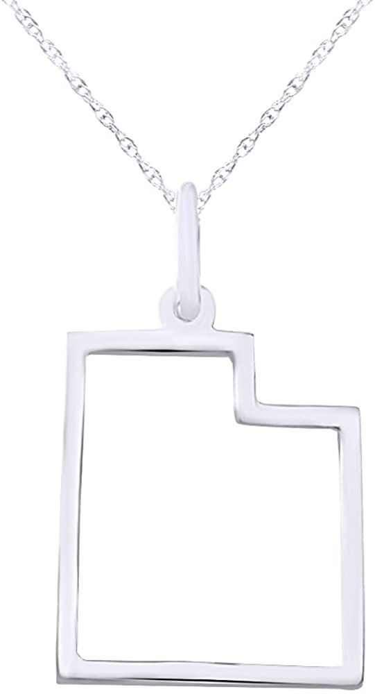 """Wishrocks Christmas Holiday Sale Utah State Pride Sterling Silver Pendant Necklace, 18"""" Chain"""