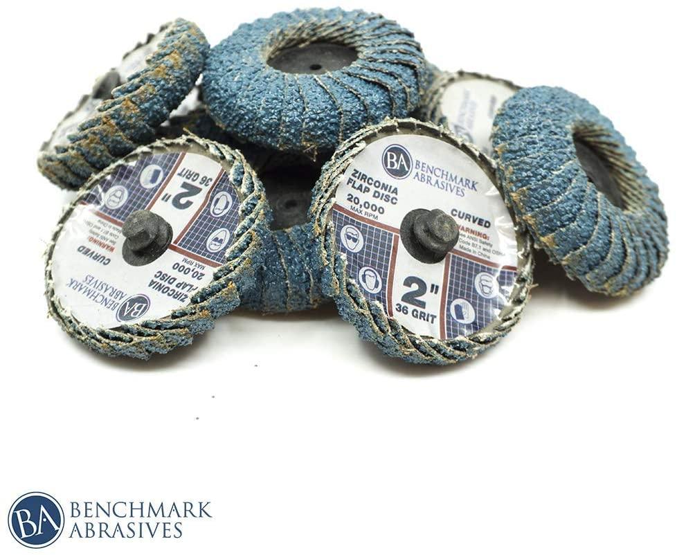Benchmark Abrasives 2 Inch Quick Change Roloc Zirconia Curved Fillet Weld Flap Discs - 10 Pack (80 Grit)