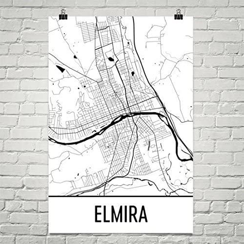Elmira NY Map, Elmira Art, Elmira Print, Elmira NY Poster, Elmira New York Wall Art, Map of Elmira, Elmira Gifts, New York Poster 24