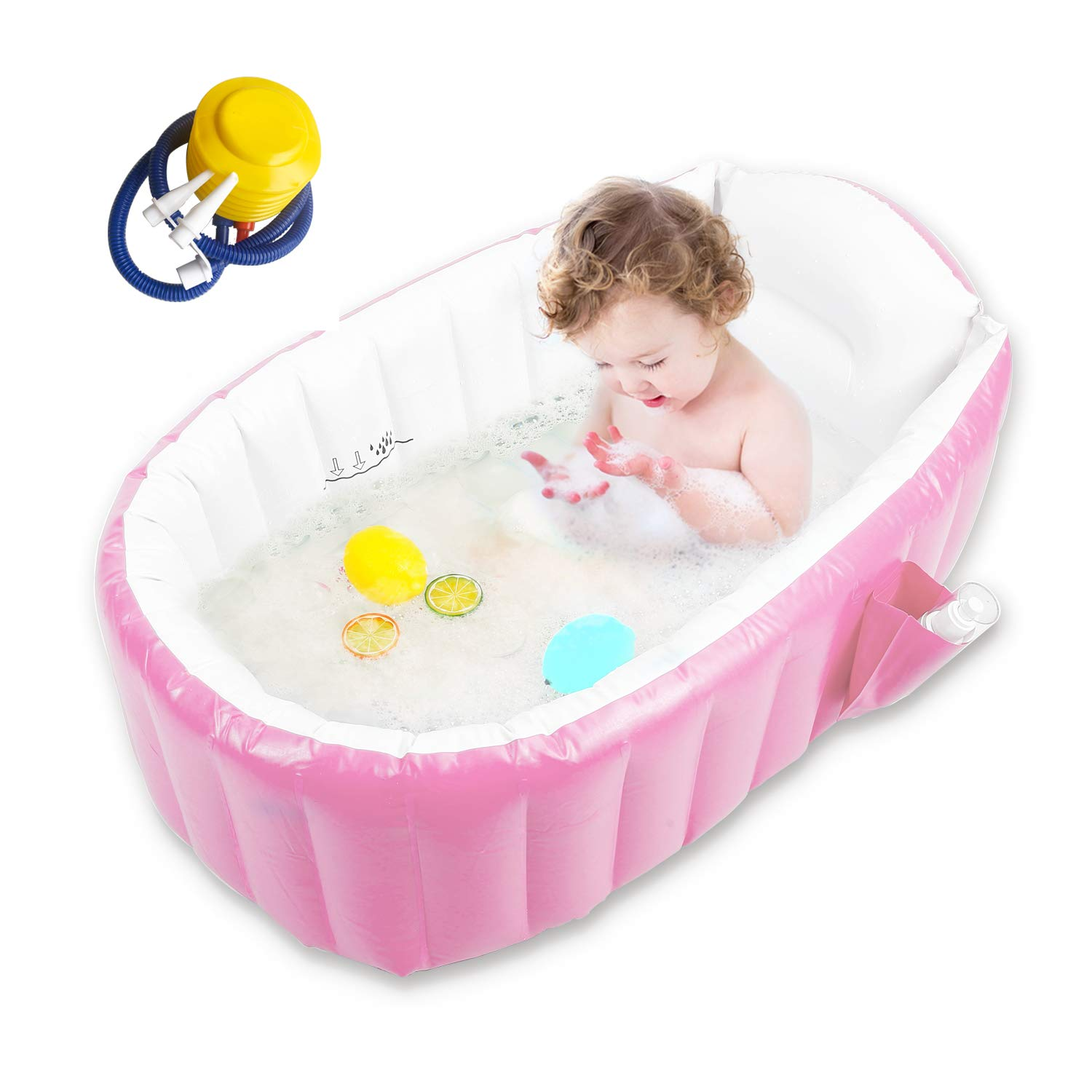 Baby Inflatable Bathtub, Goodking Portable Infant Toddler Bathing Tub Non Slip Travel Bathtub Mini Air Swimming Pool Kids Thick Foldable Shower Basin with Air Pump, Pink