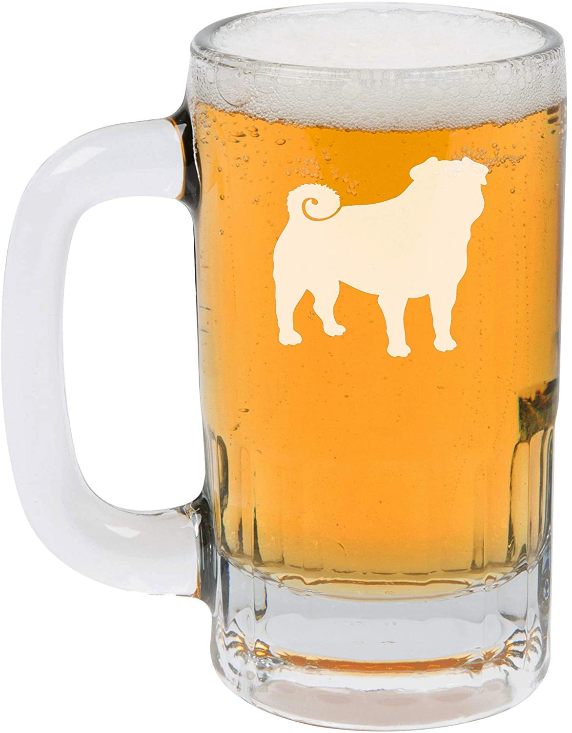 12oz Beer Mug Stein Glass Pug
