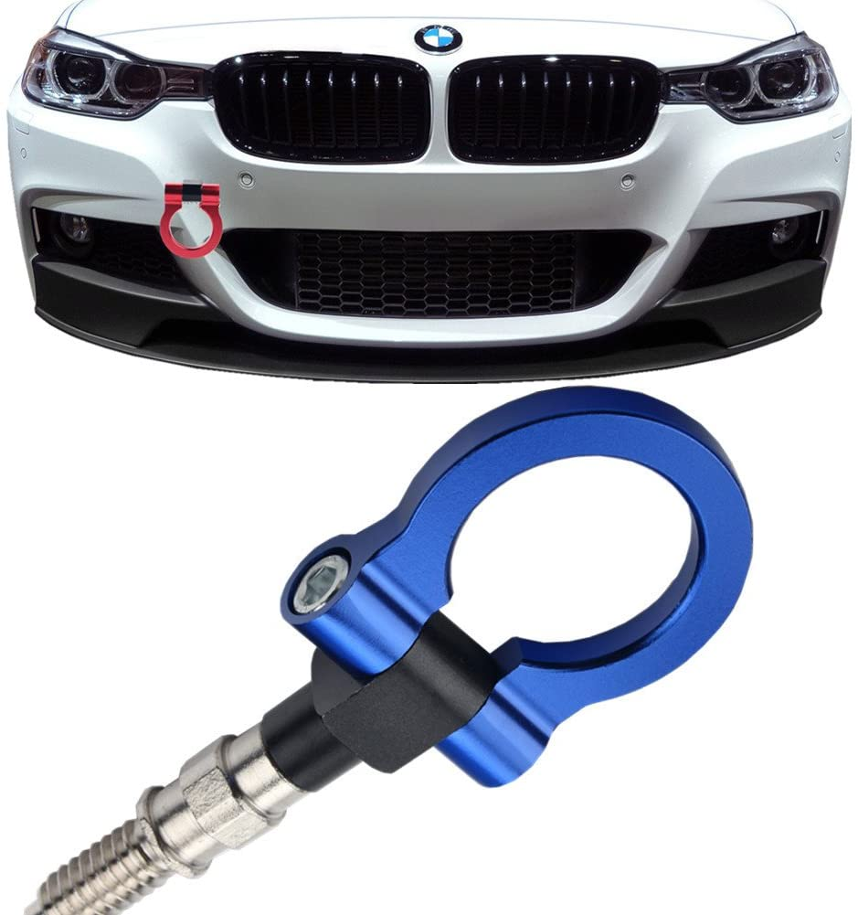 JGR Track Racing Style Tow Hook Towing Eye CNC Aluminum Screw On Car Accessories Front Rear Bumper for BMW 3 Series 318 320 323 325 328 330 335 316 340 F30 F31 F34 GT 2012+ Blue