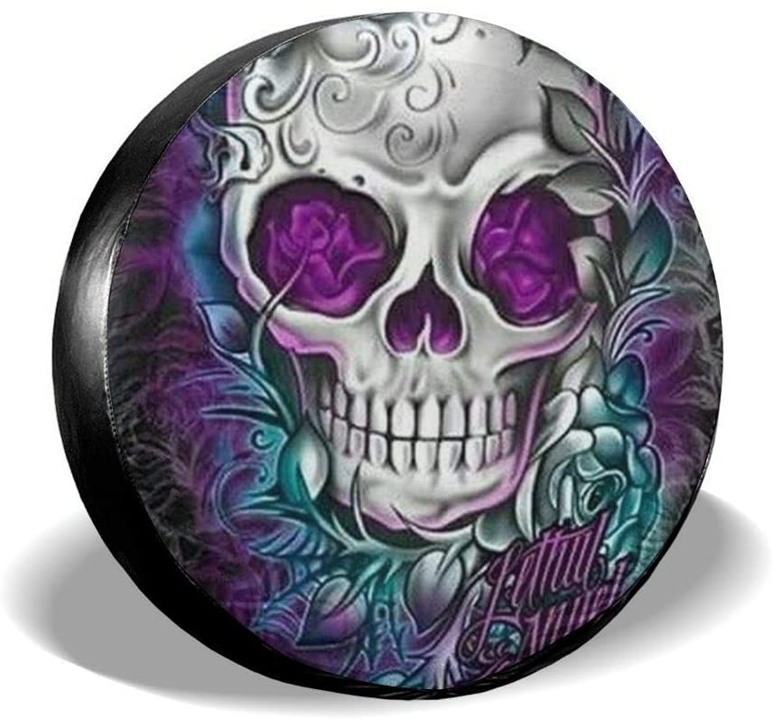 Tire Cover Butterfly Cool Sugar Skull Designs Portable Polyester Universal Spare Wheel Tire Cover Wheel Covers for Jeep Trailer RV SUV Truck Camper Travel Trailer Accessories