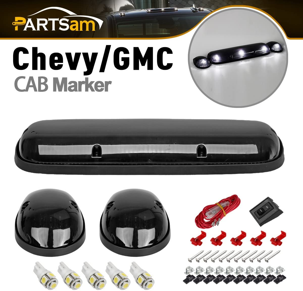 Partsam 3PCS LED Cab Marker Top Roof Running Lights with 5050 White T10 LED Bulbs Compatible with Chevrolet Silverado/GMC Sierra 1500 1500HD 2500 2500HD 3500 2002-2007 Truck
