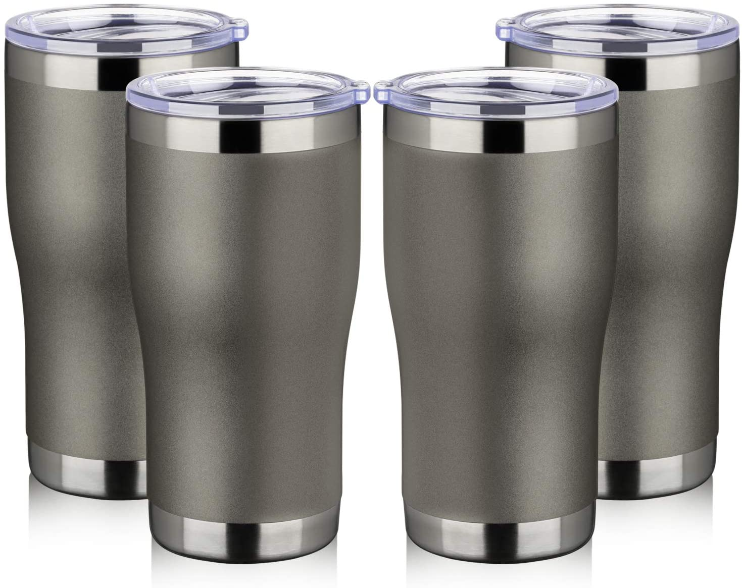 MEWAY 20 oz Stainless Steel Tumbler with Lid, 4 Pack Vacuum Insulated Coffee Cup Tumblers Bulk,Double Wall Powder Coated Travel Mug,Keep Drinks Cold & Hot Thermal Cups (Cold Gray, set of 4)