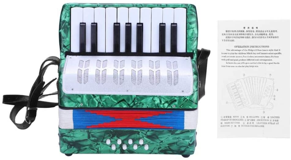 Piano Accordion 17 Key 8 Bass Accordion Musical Keyboard Instrument Educational Musical Instrument Toy for Adult Beginner Use