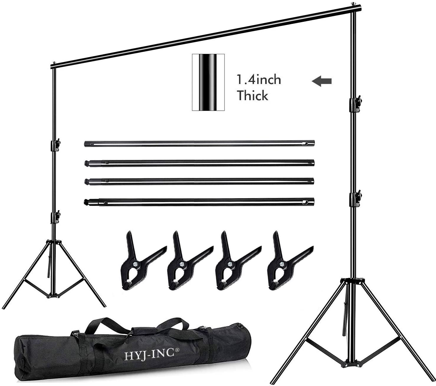HYJ-INC 12ft x 10ft Photo Video Studio Heavy Duty Adjustable Photography Muslin Backdrop Stand Background Support System Kit with Carry Bag 4 Spring Clamps