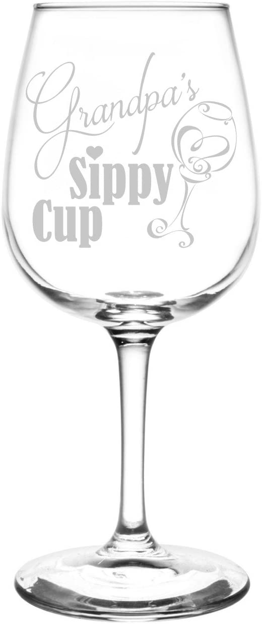 Personalized & Custom (Grandpa) Funny Sippy Cup Novelty Present & Gift Idea Inspired - Laser Engraved 12.75oz Libbey All-Purpose Wine Taster Glass