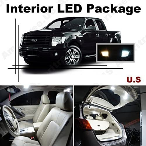 Ameritree LED PKG for Ford F250 F350 1999-2010 (8 Pcs) Xenon White LED Lights Interior Package + White LED License Plate Kit