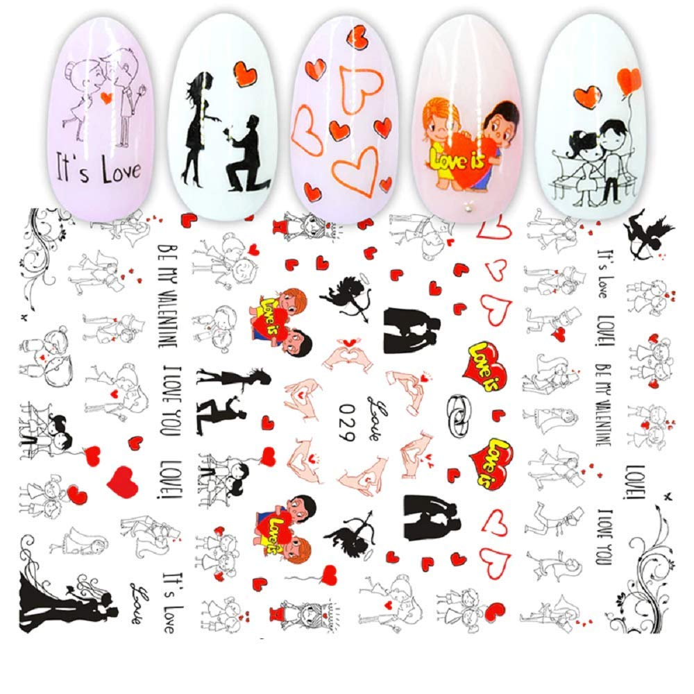 5 Sheets Self-adhesive Pink Pattern 3D Nail Decal Valentine's Day Stickers Manicure Nail Art Decoration Nails Accessories Supplies (EB029)