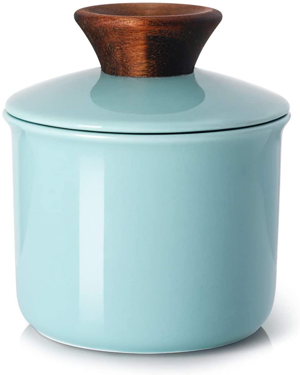 DOWAN Porcelain Butter Keeper Crock, French Butter Crock with Wood Knob Lid, Butter Dish for Soft Butter, Blue