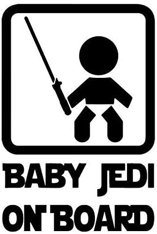 Baby Jedi On Board Star Wars Funny - Sticker Graphic - Auto, Wall, Laptop, Cell, Truck Sticker for Windows, Cars, Trucks