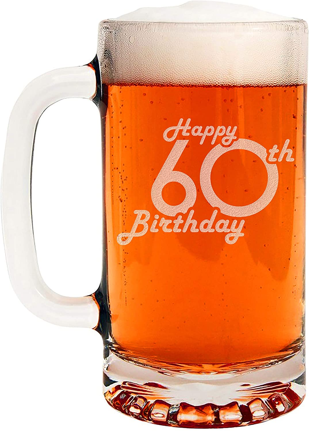 Etched 16oz Glass Beer Mug - Happy 60th Birthday - 60 Years Old Gifts