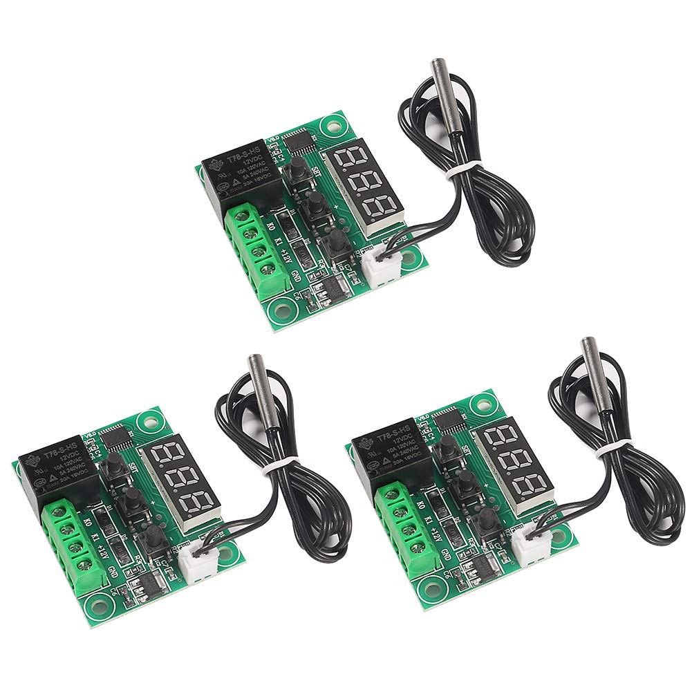 Aitrip 3pcs W1209 12V DC Digital Temperature Controller Board with 10A One-Channel Relay and Waterproof Micro Digital Thermostat -50-110°C Electronic Temperature Temp Control Module Switch (No case)