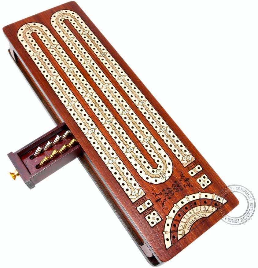 House of Cribbage - Continuous Cribbage Board / Box Inlaid in Bloodwood / Maple - 2 Track - Sliding Lid with Score Marking Fields for Skunks, Corners and Won Games
