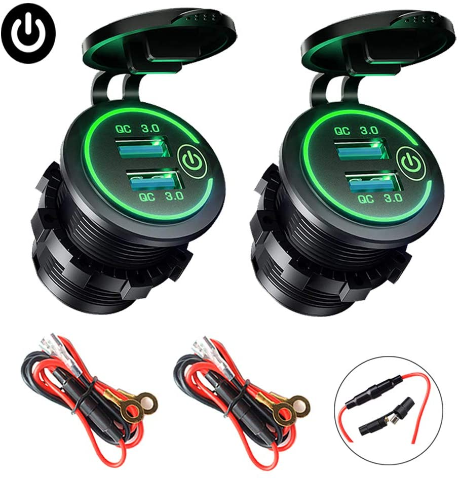 2-Pack Quick Charge 3.0 USB Car Charger with Switch, Waterproof Dual USB QC 3.0 Fast Charger Socket 36W/12V Power Outlet for Marine Boat Rv Motorcycle Truck Golf Cart (Green)