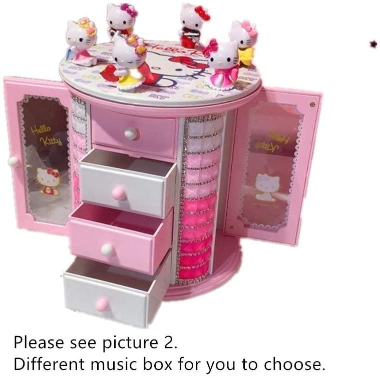 Taolela Hello Kitty Music+ Jewelry Box+ 6 Figures Girl Women Necklace Ring Earrings Storage Case 3D Cat Doll (2)