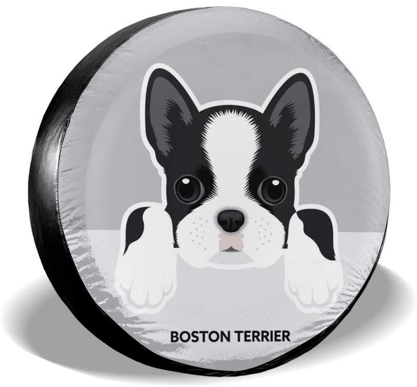 Delerain Boston Terrier Puppy Spare Tire Covers Waterproof Dust-Proof Spare Wheel Cover Universal Fit for Jeep, Trailer, RV, SUV, Truck and Many Vehicle (17 Inch for Diameter 31