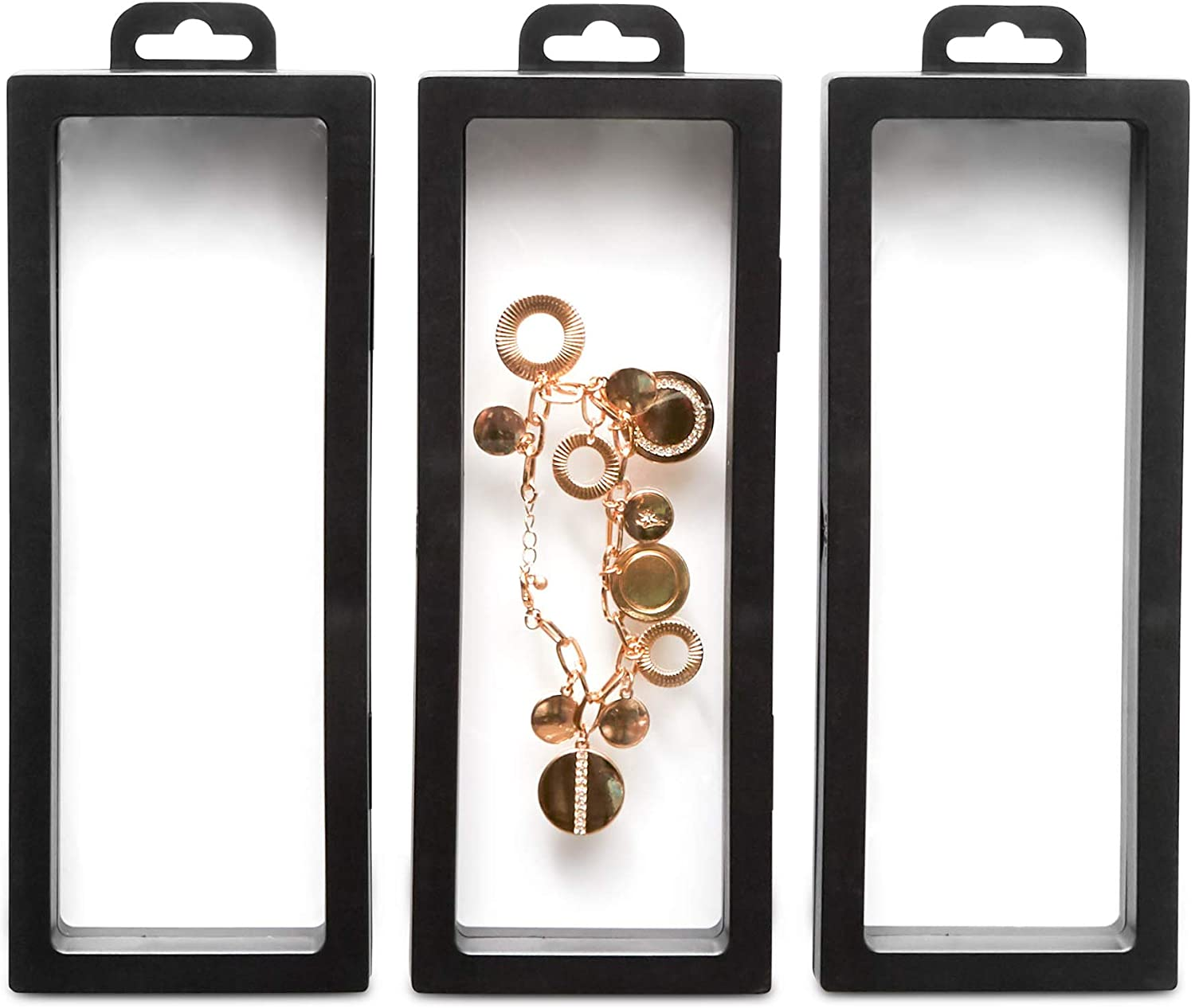 Juvale 3-D Floating Display Case with Hang Hook, 3 Pieces, Black