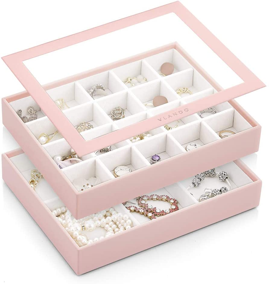 Vlando Medium Stackable Jewelry Organizer Tray with Lip, High-Capacity Jewelry Drawer Dresser Storage Organizer Display Tray Box Case Holder for Earring Ring Necklace (20 Grid+6 Slot, Pink)