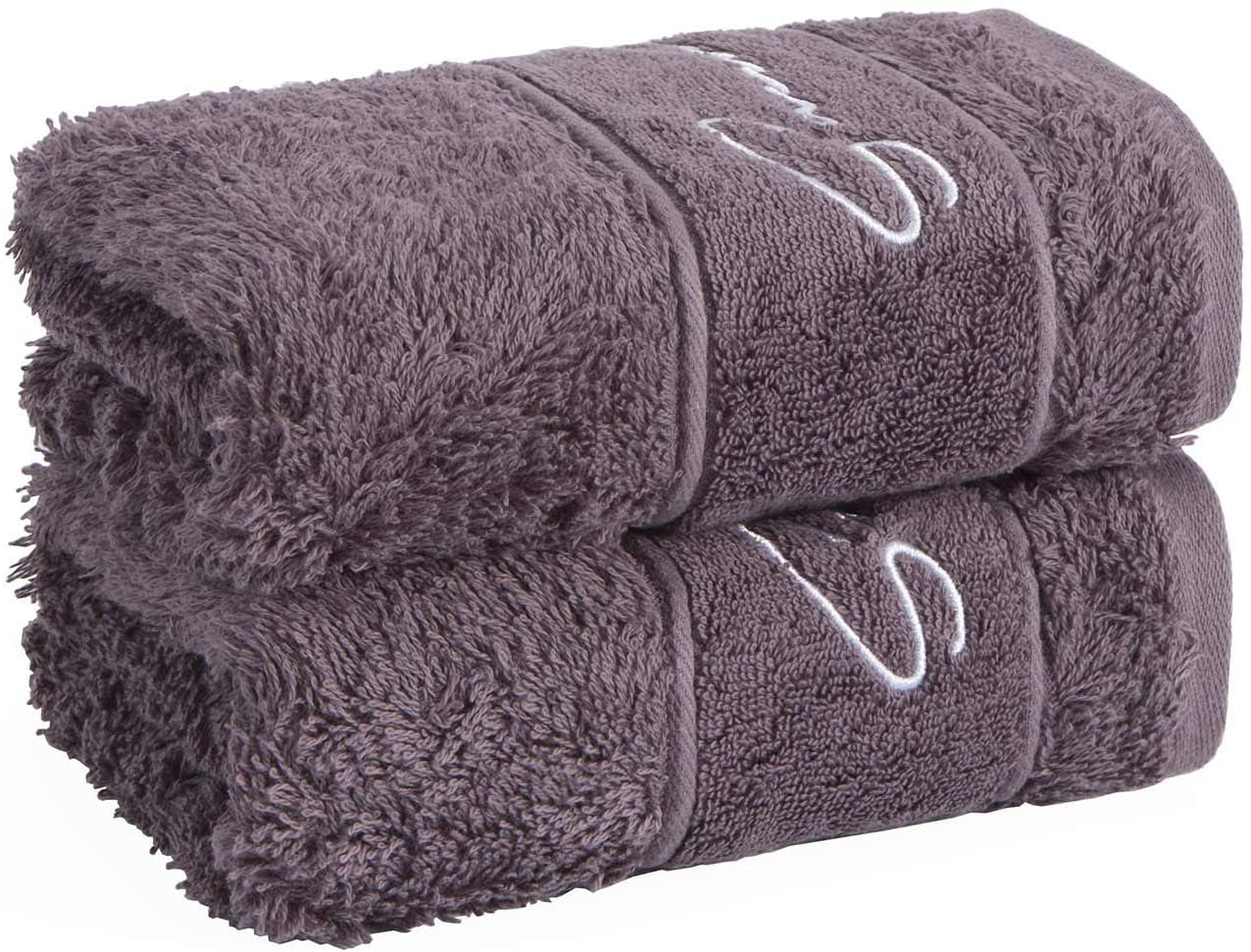 SANLI Xinjiang Long-Staple Luxe Cotton, Single-Twist Yarn, Hand Towels, Super Soft, Extremely Absorbent, High Color Fastness, Resistant to Washing, No Lint No Fading (2PCS, Blue Gray, 35x74)