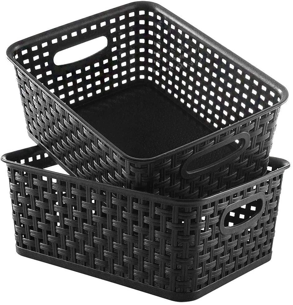 YXB Plastic Storage Basket, 2 Pack Weave Baskets, Black Organizing Woven Baskets, Storage Baskets for Home Office Kitchen Bedroom