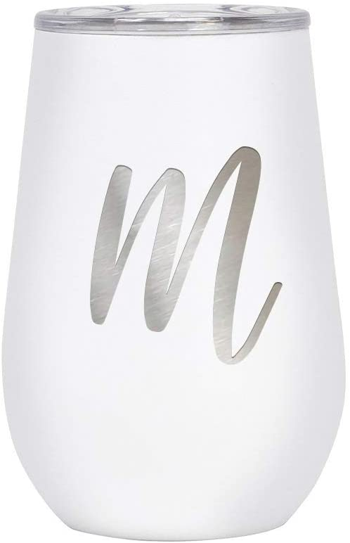 Mira 12 oz Monogram Insulated Wine Glass Tumbler with Lid - Monogrammed Personalized Stemless Stainless Steel Wine Cup - White - M