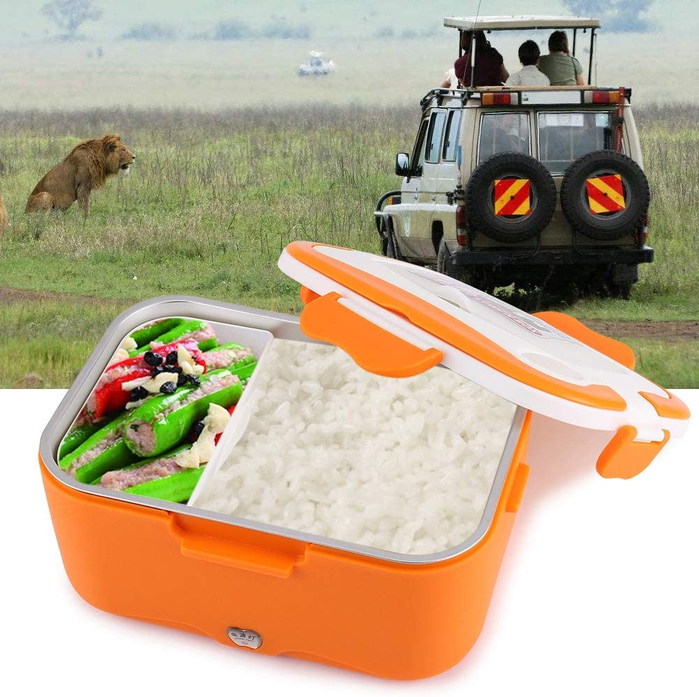 Electric Lunch Box, Portable Bento Food Warmer Heating Container for Car Office School Home (12V-Orange)