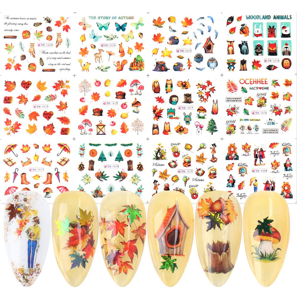 Macute Fall Nail Art Stickers Water Transfer Nail Decals, 12 Sheets Autumn Maple Leaf Squirrel Butterfly Designs Nail Art Print Stickers for Acrylic Nails Decor Thanksgiving Day Manicure Decorations