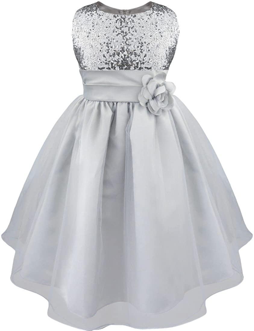 iEFiEL Girls Kids Glitter Sequin Wedding Flower Girl Dress Pageant Prom Party Ball Gown
